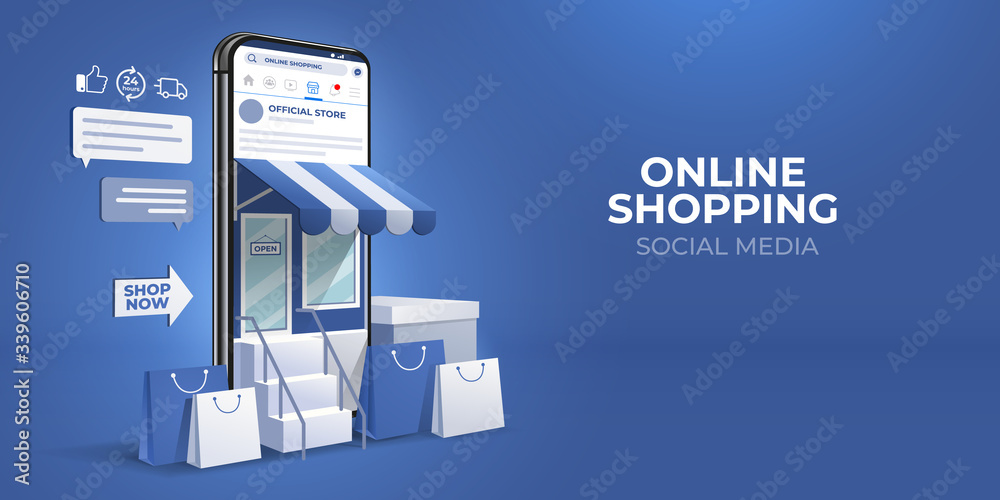 Fototapeta the concept of online shopping on social media app. 3d Smartphone with shopping bag, chat message, delivery, 24 hours, and like icon. suitable for promotion of digital stores, web and ad. illustration