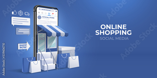 Foto the concept of online shopping on social media app