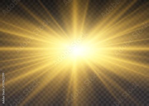 Fototapeta Yellow sun rays. obraz na płótnie