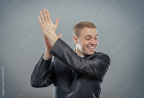 Businesses man applauding Canvas Print
