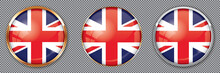 Round Buttons With Flag Of UK On Transparent Background