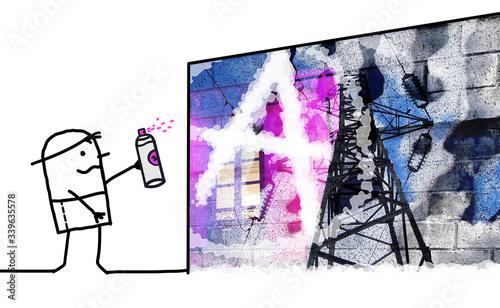 Cartoon man painting an anarchist graffiti on an urban wall Canvas Print