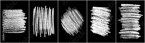 Photo Set of scribble hand drawn in chalk on black background