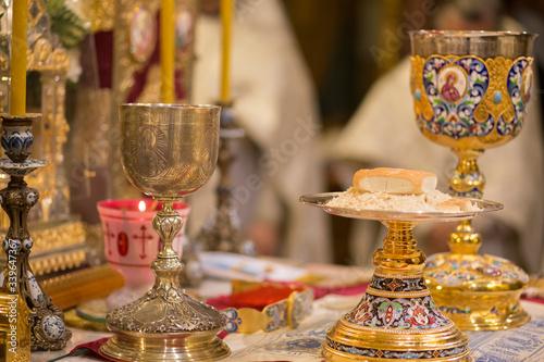 Chalice for communion in the Orthodox monastery Fototapeta