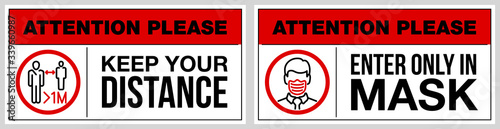 Foto set of stickers for public institutions calling for prevention of coronavirus: keep distance 1 meter, wear a mask on face, stay at home