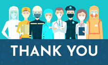 Postcard. Thank You. Respect For The Work Of Doctors, Nurses, Rescuers, Delivery Services, Postmen, Firefighters, Police, Social Workers, Health Care Workers, Salesmen. Covid-19, Coronavirus, Pandemic