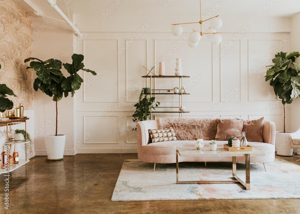 Fototapeta Stylish pastel living room
