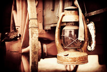 Old-fashioned Lantern Hanging From Cart