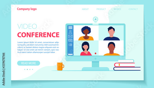 Fototapeta Video conference landing page. People on сomputer screen. Online meeting. Vector illustration in flat style obraz na płótnie