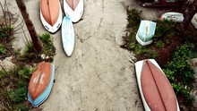 High Angle View Of Upside Down Boats At Beach