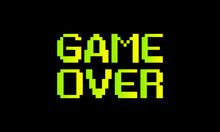 Pixel Game Over, 8-bit Pixel Game Over, Vector Background