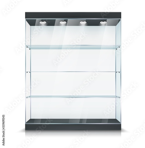 Photo Glass display, showcase stand with shelf and light