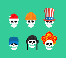 Set Of Skulls In Hats. Statue Of Liberty And Uncle Sam. Russian Kokoshnik And Building Helmet. Green Beret And Hat Cylinder. Skeleton Head