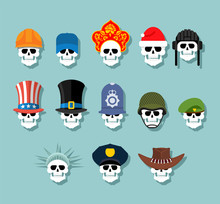 Set Of Skulls In Hats. Statue Of Liberty And Uncle Sam. Russian Kokoshnik And Building Helmet. Green Beret And Hat Cylinder. Cowboy And Policeman. Aristocrat And British Sheriff. Skeleton Head