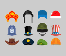 Hats Set. Green Beret And Hat Cylinder. Cowboy And Policeman. Aristocrat And British Sheriff. Statue Of Liberty And Uncle Sam. Russian Kokoshnik And Building Helmet