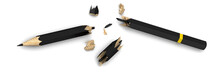 Broken Pencil. A Black Broken Pencil Symbolizing Failure Lies On A White Surface. 3D Illustration