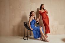 Two Fashion Model Brunette Hai...