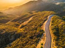 Aerial View Of East Camino Cielo Road Along The Top Of The Santa Ynez Mountains  At Sunset , Santa Barbara, California
