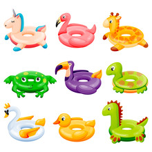 Pool Inflatable Rings. Kids Floating Toys With Animals And Birds. Vector Illustration. Summer Beach Leisure Elements
