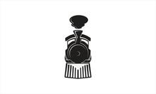 Simple Old Retro Steam Train Locomotive Logo Template Vector Icon Illustration, Vintage Style Emblem.
