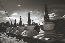 Stupas At Temple In Qinghai