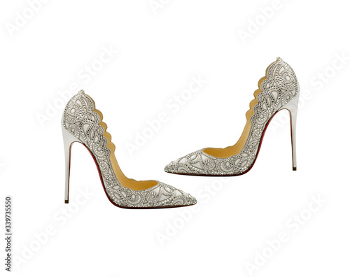 pair of silver shoes on white background Tapéta, Fotótapéta