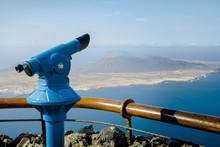 Telescope At Mirador Del Rio Against Sky
