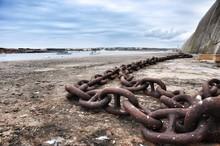 Rusty Metallic Chain At Beach ...