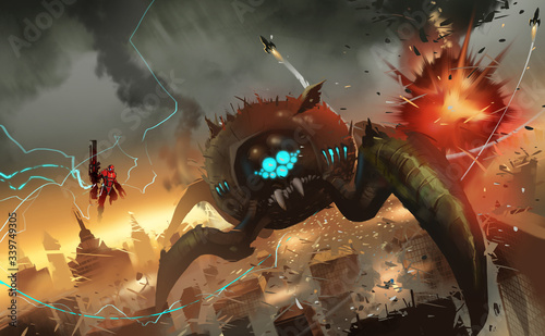 Digital illustration painting design style big monster invading big city Slika na platnu