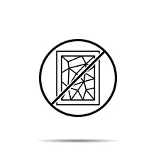 No History, Stained Glass Icon. Simple Thin Line, Outline Vector Of History Ban, Prohibition, Embargo, Interdict, Forbiddance Icons For Ui And Ux, Website Or Mobile Application
