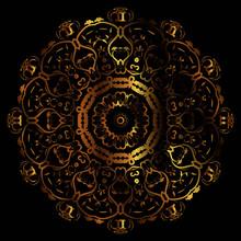 Luxury Ornamental Mandala Design Gold Color On Black Background. Logo Design Template Label For Coffee; Tea; Business Card. Isolated Ornament. Vector Illustration.
