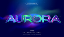 Aurora Text Effect. Futuristic Font Style