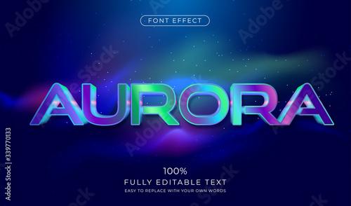Aurora text effect. Futuristic font style Canvas Print