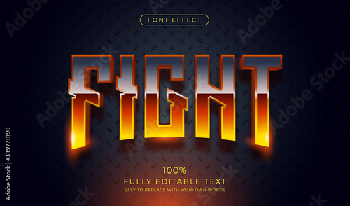 Hot Fight text effect. Editable font style Canvas Print