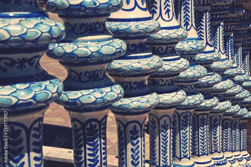 Fotografía Close-up Of Patterned Blue Balusters