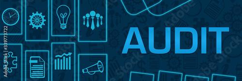 Leinwand Poster Audit Blue Neon Business Shapes Horizontal