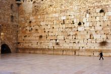 One Jewish Orthodox Man At Kotel Wailing Western Wall In Jerusalem Old City Israel