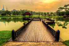 View Of Jetty Leading To Calm Lake
