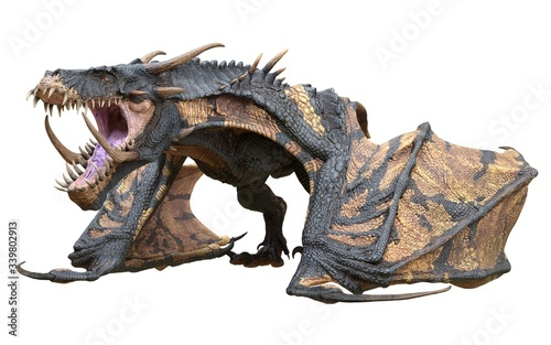 Fototapeta Fantasy dragon isolated on white 3d illustration