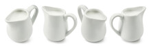 Set Of Ceramic Milk Jars Or Creamers Isolated On White Background. Package Design Element With Clipping Path