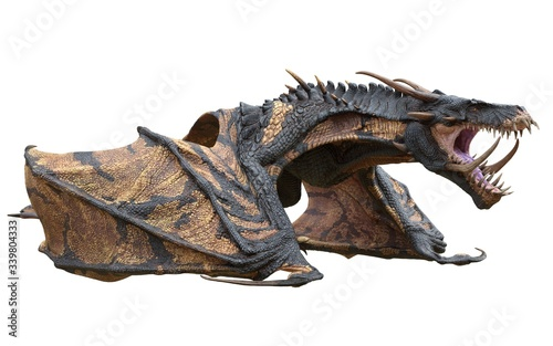 Obraz na plátně Fantasy dragon isolated on white 3d illustration