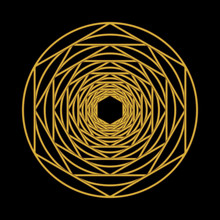 Golden Color Hexagons And Circles Shape Over Dark Background
