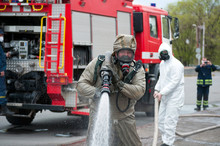 Rescue Team Disinfecting Stree...