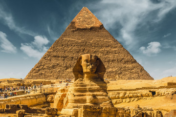 Egypt. Egyptian sphinx pyramid background. Cairo. Giza. Travel background. Architectural monument. The tombs of the pharaohs. Vacation holidays background wallpaper