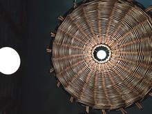 Directly Below Shot Of Illuminated Lantern On Ceiling