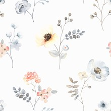 Flower Seamless Pattern With Abstract Floral Branches With Leaves, Blossom Flowers And Berries. Vector Nature Illustration In Vintage Watercolor Style.