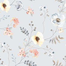 Flower Seamless Pattern With Abstract Floral Branches With Leaves, Blossom Flowers And Berries. Vector Illustration In Vintage Watercolor Style On Ligh Grey Background.
