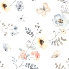 Naklejka Do kuchni Flower seamless pattern with abstract floral branches with flying butterflies, leaves, blossom flowers and berries. Vector illustration in vintage watercolor style on white background.