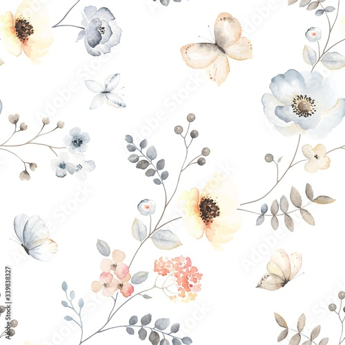 Tapety białe  flower-seamless-pattern-with-abstract-floral-branches-with-flying-butterflies-leaves-blossom-flowers-and-berries-vector-illustration-in-vintage-watercolor-style-on-white-background