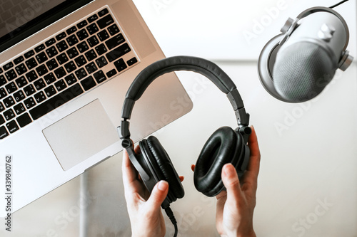 Valokuva Woman recording her own podcast